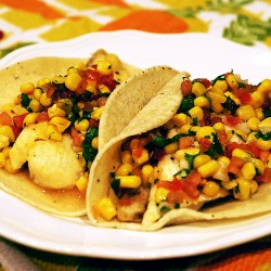 Fish Tacos with Tomato and Corn Relish
