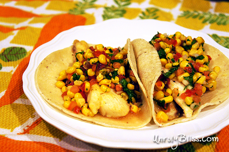 Grilled Garlic-Lime Fish Tacos {served with Corn and Tomato Relish}