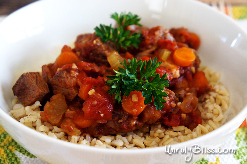 Slow Cooker Beef and Tomato Stew | Unruly Bliss
