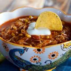 Chicken Enchilada Slow Cooker Soup from UnrulyBliss.com
