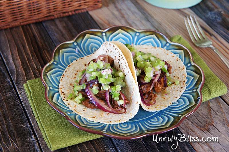 Steak and Onion Tacos with Fresh Tomatillo Salsa