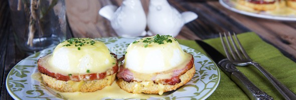 Eggs Benedict with Easy Homemade Hollandaise Sauce and Homemade Sage Biscuits