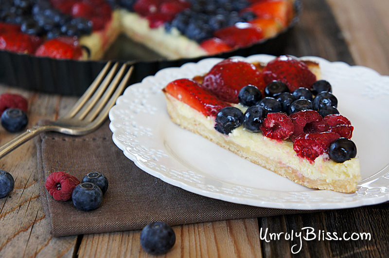 Mixed Berry Lemon Tart from UnrulyBliss.com