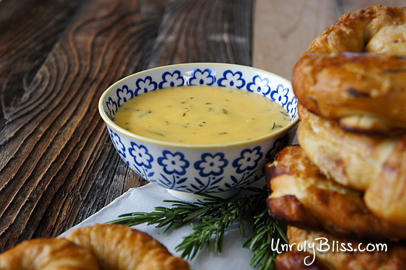 Rosemary Pretzels with Rosemary Cheddar Sauce from UnrulyBliss.com