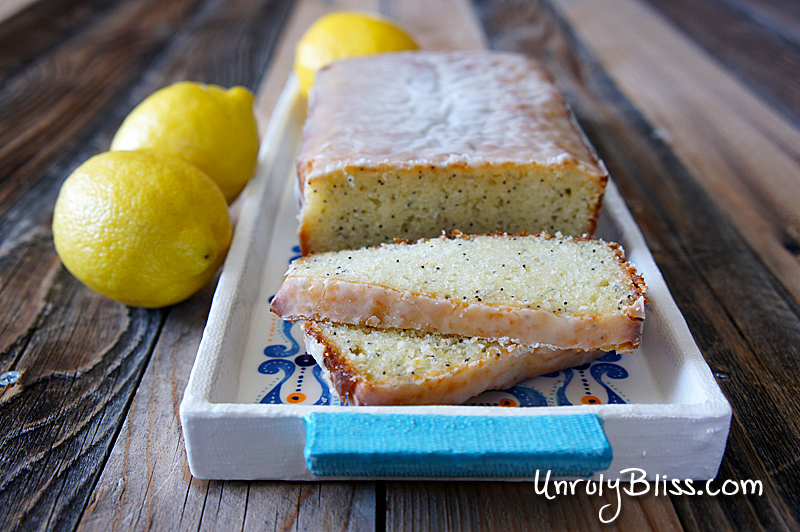 Lemon Poppy Seed Loaf Cake from UnrulyBliss.com