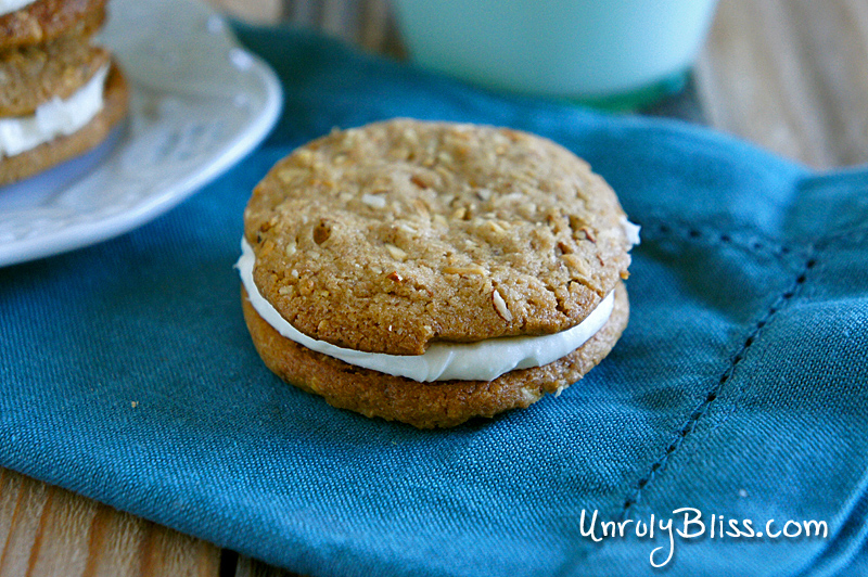 Whole-Wheat Almond-Butter Sandwich Cookies from UnrulyBliss.com