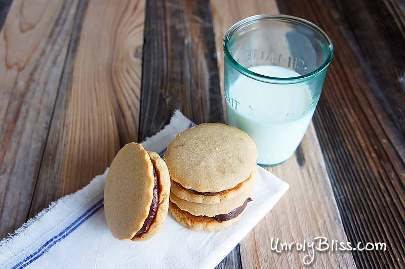 Chocolate-Filled Peanut Butter Sandwich Cookies from UnrulyBliss.com